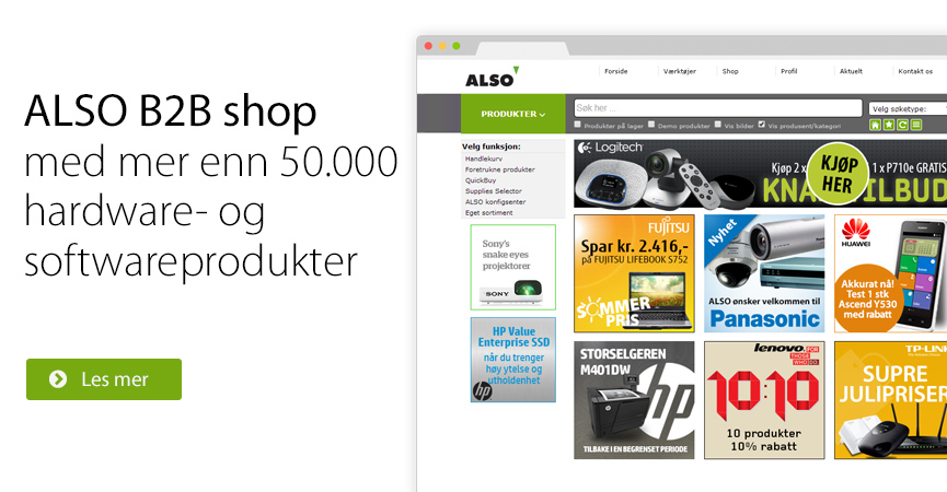 ALSO B2B shop med mer enn 50.000 hard- og softwareprodukter