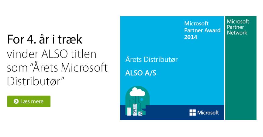 For 4. �r i tr�k vinder ALSO titlen som �rets Microsoft Distribut�r